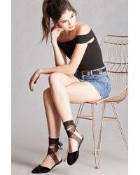 Forever 21   Black Velvet Ankle Wrap Flats   Lyst