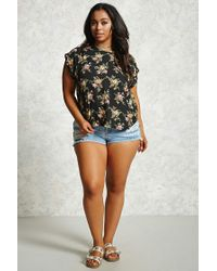 Forever 21 - Black Plus Size Floral Top - Lyst