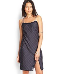 Forever 21 | Gray Plaid & Lace Slip Dress | Lyst