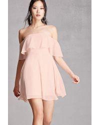 Forever 21 | Pink Soieblu Off-the-shoulder Dress | Lyst