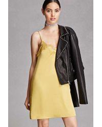 Forever 21   Yellow Eyelash Lace Satin Slip Dress   Lyst