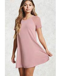 Forever 21 Pink Mesh Sleeve T-shirt Dress