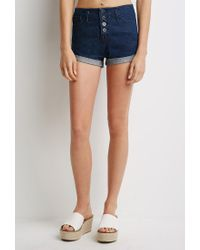 Forever 21 | Blue Mineral Wash Cuffed Denim Shorts | Lyst