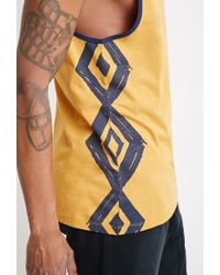 Forever 21 - Yellow Print Muscle Tee for Men - Lyst
