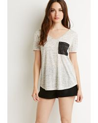 Forever 21 - Natural Contemporary Marled Pocket V-neck Tee - Lyst