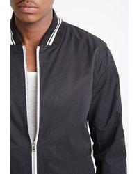 Forever 21 Black Varsity-striped Baseball Jacket for men
