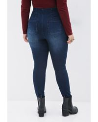 Forever 21 - Blue Plus Size Clean Wash Jeggings - Lyst