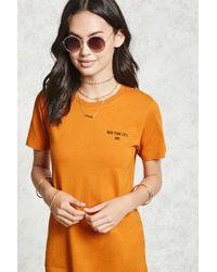 Forever 21 Orange Dont Knock New York Graphic Tee