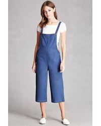 Forever 21 Blue Denim Culotte Overalls