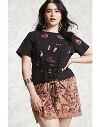 Women\'s Black Plus Size Acid Wash Shirt Dress