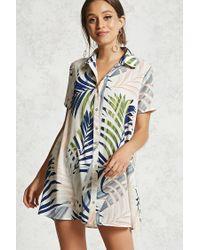 Forever 21 Blue Tropical Print Shirt Dress