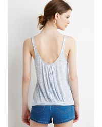 Forever 21 | Blue Marled Knit Pleated-back Tank | Lyst