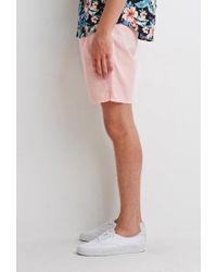 Forever 21 - Pink Linen-blend Drawstring Shorts for Men - Lyst