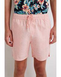 Forever 21 Pink Linen-blend Drawstring Shorts for men