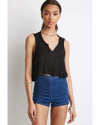 Forever 21 | Blue Flat Front Denim Shorts | Lyst