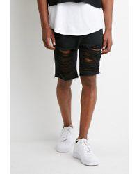 Forever 21 Destroyed Denim Shorts in Black for Men | Lyst