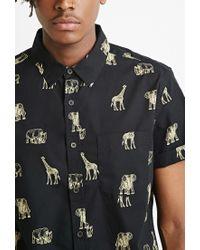 Forever 21 - Black Safari Animal Print Shirt for Men - Lyst