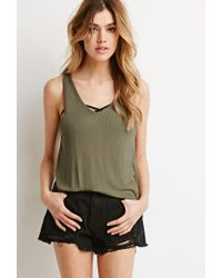 Forever 21 | Green Boxy Ribbed Knit Tank | Lyst