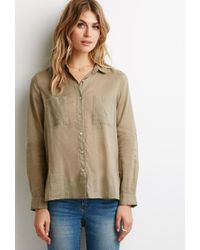 Forever 21 - Green Contemporary Boxy Woven Shirt - Lyst
