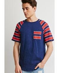 Forever 21 | Blue Zigzag Pocket Tee for Men | Lyst