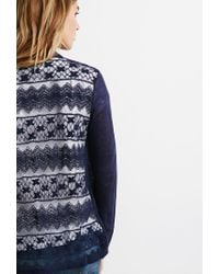 Forever 21 - Blue Contemporary Embroidered Mesh Cardigan - Lyst