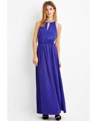 Forever 21 - Blue Contemporary Rhinestone-embellished Maxi Dress - Lyst