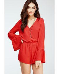 Forever 21 | Red Trumpet-sleeved Surplice Romper | Lyst