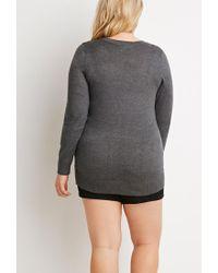 Forever 21 - Gray Plus Size Longline V-neck Cardigan - Lyst