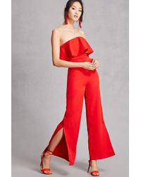 Forever 21 Red Flounce Strapless Jumpsuit