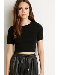 Forever 21 - Black Contemporary Ribbed Crop Top - Lyst