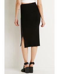 Forever 21 - Black Ribbed Side-zipper Midi Skirt - Lyst