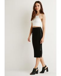 Forever 21 - Black Ribbed Side-zipper Midi Skirt - Lyst