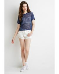 Forever 21 - Blue Boxy Open-knit Top - Lyst
