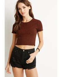 Forever 21 | Black Micro-stripe Ribbed Tee | Lyst