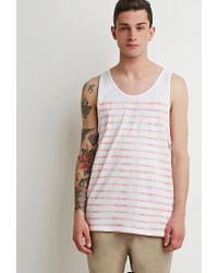 Forever 21 | White Faded-stripe Tank for Men | Lyst