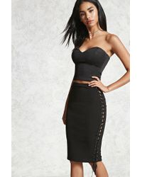 Forever 21 | Black Lace-up Bodycon Skirt | Lyst