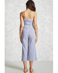 Forever 21 Blue Cropped Striped Jumpsuit