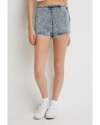 Forever 21 Blue Acid Wash Flat-front Shorts You've Been Added To The Waitlist
