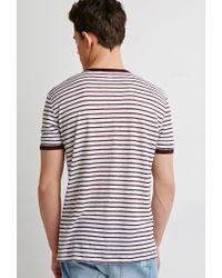 Forever 21 Purple Striped Linen Ringer Tee for men