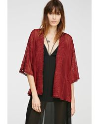 Forever 21 - Embroidered Sheer Kimono - Lyst