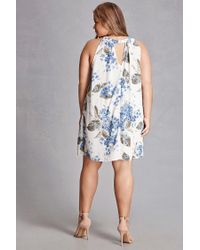 Forever 21 - Blue Plus Size Floral Swing Dress - Lyst