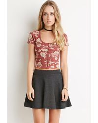 Forever 21 - Brown Buttoned Floral Crop Top - Lyst