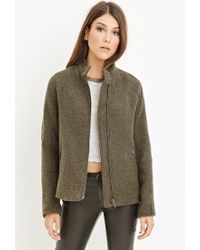 Forever 21   Green Button-collar Boucle Coat   Lyst