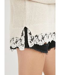 Forever 21 - Natural Scalloped Lace-hem Sweater - Lyst