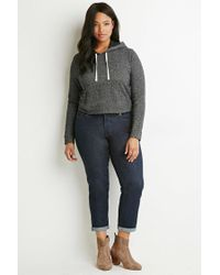 Forever 21 - Gray Plus Size Contrast-lined Drawstring Hoodie - Lyst