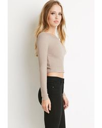 Forever 21 - Brown Ribbed Knit Crop Top - Lyst
