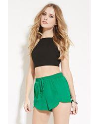 Forever 21 | Green Washed Drawstring Satin Shorts | Lyst