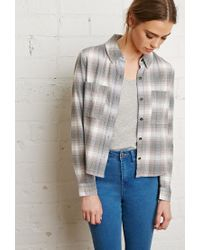 Forever 21 Gray Boxy Check Shirt