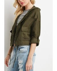 Forever 21 | Green Hooded Boxy Utility Jacket | Lyst