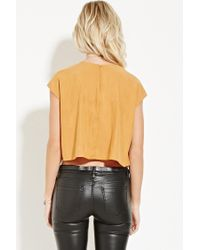 Forever 21 - Orange Contemporary Boxy Cap-sleeved Top - Lyst